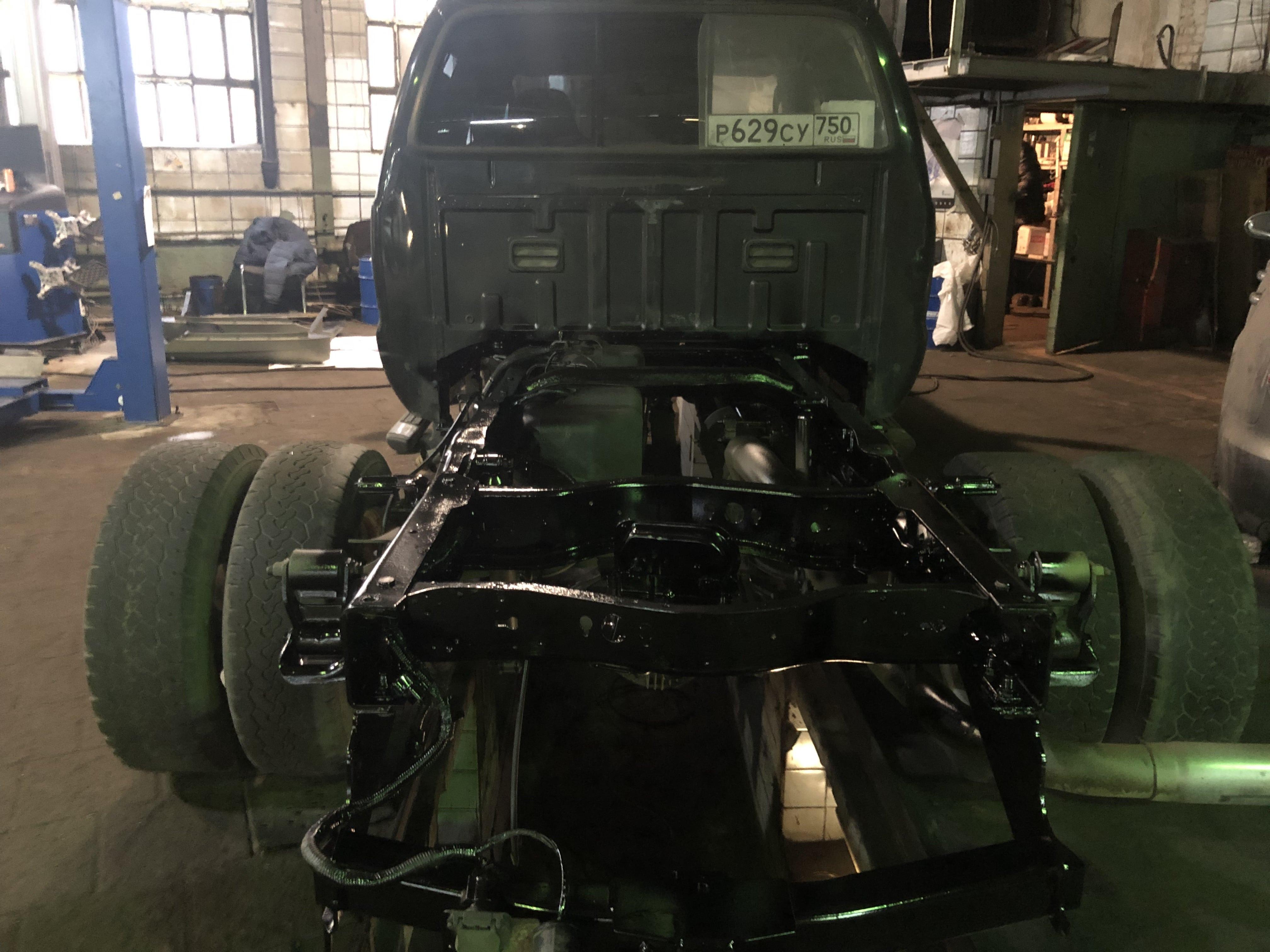 Пескоструйная обработка рамы автомобиля 2